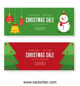 christmas sale with pine trees bell spheres and snowman vector design