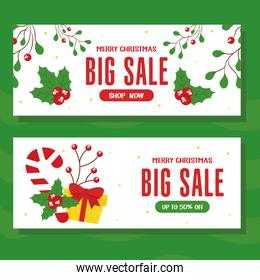 christmas sale with candy gift and leaves vector design