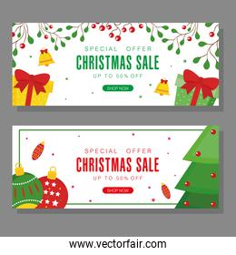 christmas sale with pine tree spheres and gifts vector design