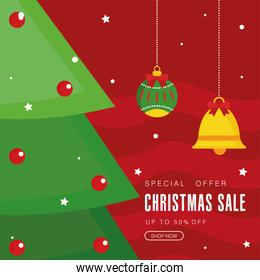 christmas sale with pine tree sphere and bell vector design