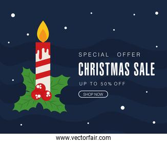 christmas sale with candle and leaves vector design