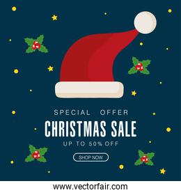 christmas sale with hat and leaves vector design