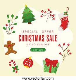 christmas sale with pine tree boot gingerbread sphere and gift vector design
