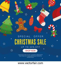 christmas sale with icon set on blue background with stars vector design