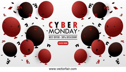 cyber monday holiday poster with red balloons helium