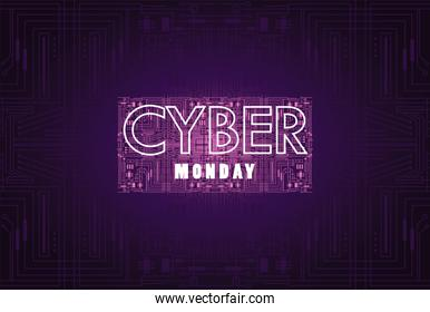 cyber monday holiday poster with label neon light