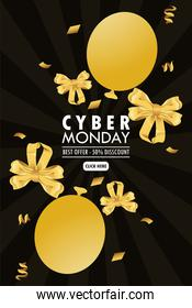 cyber monday holiday poster with golden balloons helium and ribbons bows