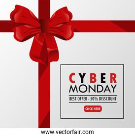 cyber monday holiday poster with red bow square frame