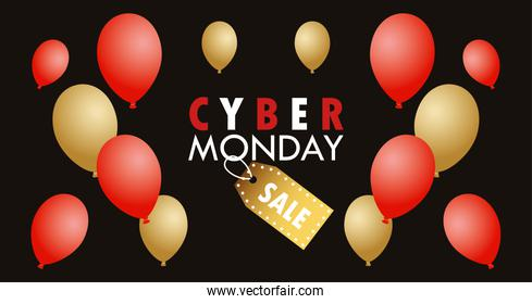 cyber monday holiday poster with red and golden colors balloons helium