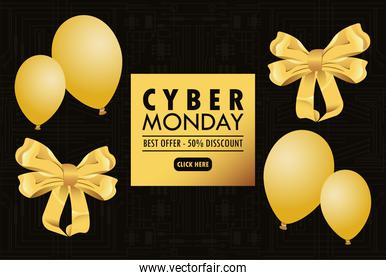 cyber monday holiday poster with golden balloons helium and ribbons bows in black background