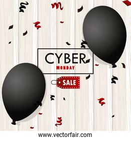 cyber monday holiday poster with black balloons helium in wooden background