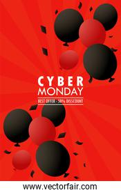cyber monday holiday poster with red and black colors balloons helium floating