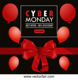 cyber monday holiday poster with red balloons helium and bow ribbon