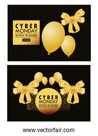 cyber monday holiday poster with golden balloons helium and bows ribbons