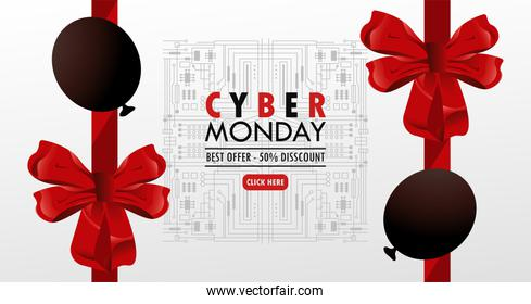cyber monday holiday poster with red color balloons helium and bows
