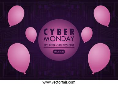 cyber monday holiday poster with purple balloons helium