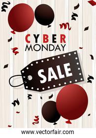 cyber monday holiday poster with red balloons helium and sale tag