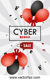 cyber monday holiday poster with red and black colors balloons helium