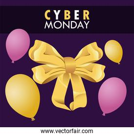cyber monday holiday poster with purple and golden balloons helium