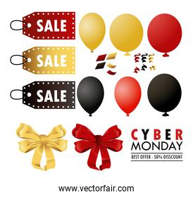 cyber monday holiday poster with set colors balloons helium and tags