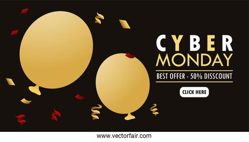 cyber monday holiday poster with golden balloons helium and lettering
