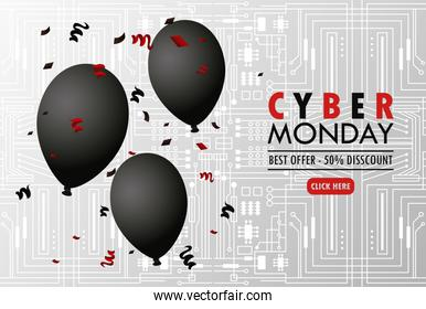 cyber monday holiday poster with black balloons helium in gray background