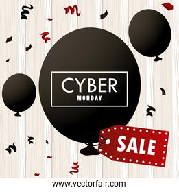 cyber monday holiday poster with black balloons helium and sale tag in wooden background