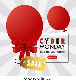 cyber monday holiday poster with red balloons helium and golden sale tag