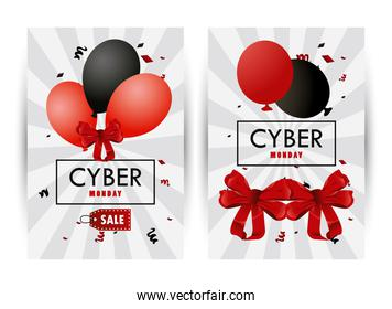 cyber monday holiday poster with red and black colors balloons helium frames