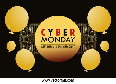cyber monday holiday poster with golden balloons helium circular frame