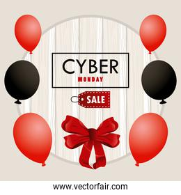 cyber monday holiday poster with red and black colors balloons helium in wooden background
