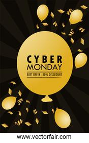 cyber monday holiday poster with golden balloons helium in black background