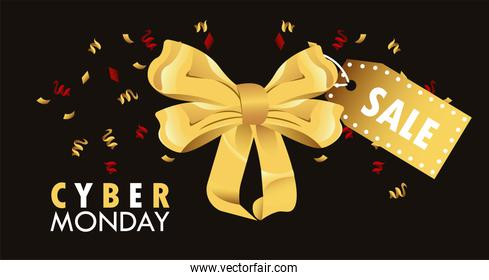 cyber monday holiday poster with golden bow and sale tag