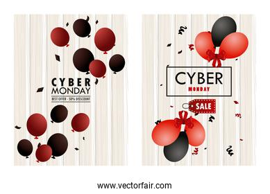 cyber monday holiday poster with red and black colors balloons helium wooden frames