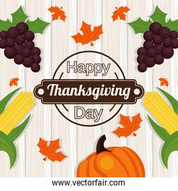 happy thanksgiving day poster with grapes and vegetables in wooden background