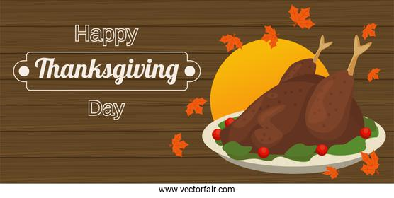 happy thanksgiving day poster with turkey food in wooden background