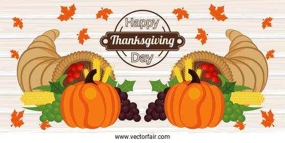 happy thanksgiving day poster with pumpkins and fruits in wooden background