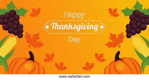 happy thanksgiving day poster with fresh fruits and lettering