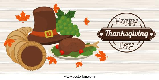 happy thanksgiving day poster with pilgrim hat and turkey in wooden background