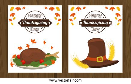 happy thanksgiving day poster with turkey food and pilgrim hat