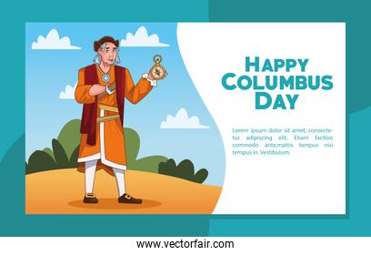 Columbus day celebration scene of christopher lifting compass guide