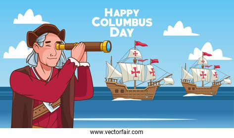 Columbus day celebration scene of christopher using telescope and caravels