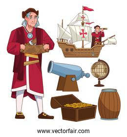Columbus day celebration scene of christopher lifting paper map and set icons