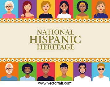 national hispanic heritage celebration lettering with people in square frame