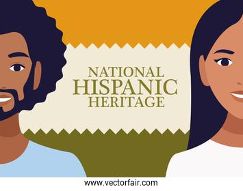 national hispanic heritage celebration with couple and lettering