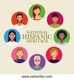 national hispanic heritage celebration lettering with people in circular frame