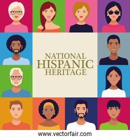 national hispanic heritage celebration lettering with group of people in square frame