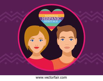 national hispanic heritage celebration with couple and lettering in heart love