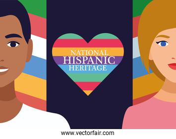 national hispanic heritage celebration with couple and lettering in heart