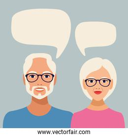 old couple persons with speech bubbles characters